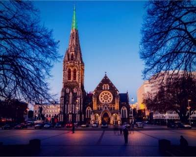 Christchurch city centre at sunset